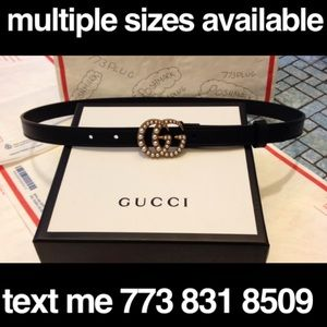 Black leather Gucci two gs belt pearl